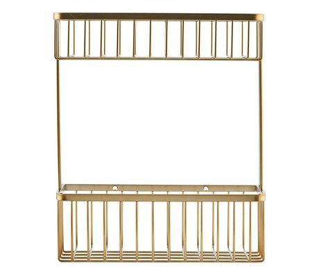 Housedoctor Wall rack Basket brass gold steel 28x11,5x33,3cm