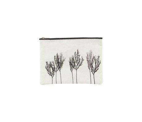 Housedoctor Kulturbeutel Woods weiß schwarz Textil 21x15cm