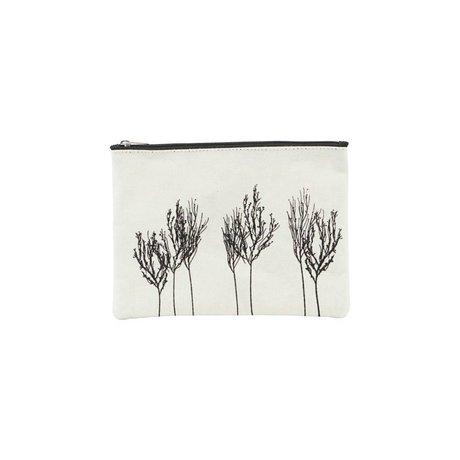 Housedoctor Trousse de toilette Woods blanc noir textile 21x15cm