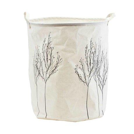 Housedoctor Sac à linge Woods blanc textile noir Ø40x50cm