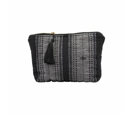 Housedoctor Clutch Bille black gray textile 28x19cm