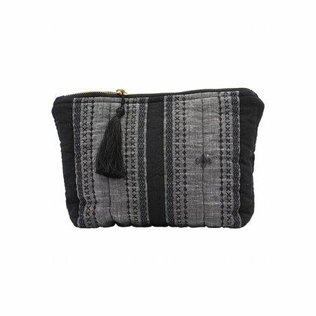 Housedoctor Clutch Bille zwart grijs textiel 28x19cm