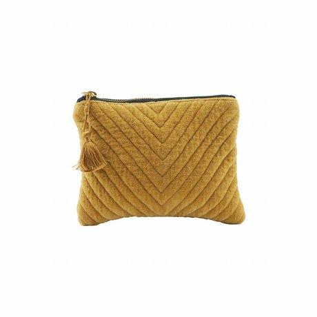 Housedoctor Clutch Mila mosterd geel textiel 23,5x15cm