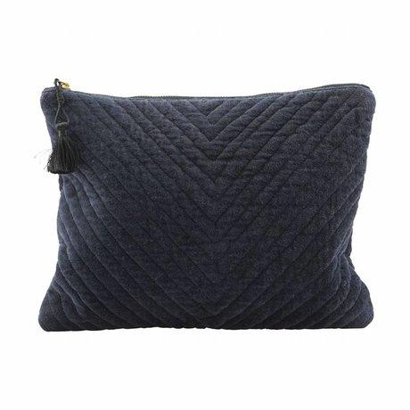 Housedoctor Pochette Mila bleu textile 31x23cm