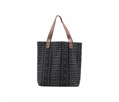 Housedoctor Shopper Inka zwart textiel 40x10x45cm