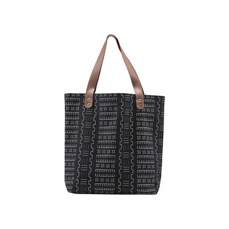 Housedoctor Shopper Inka schwarz Textil 40x10x45cm