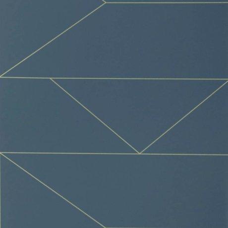 Ferm Living Wallpaper Lines dark blue 10x0,53m 2 rolls damage