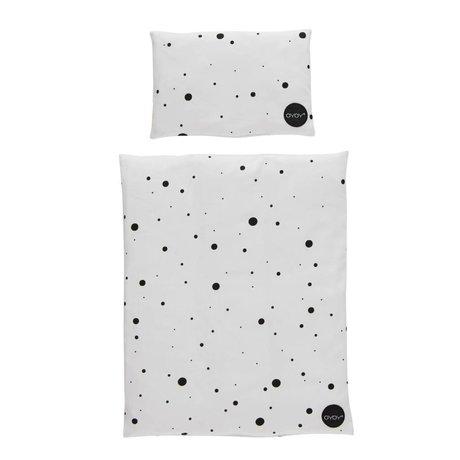OYOY Puppenbett Bettwäsche Dot schwarz weiße Baumwolle 34x42 / 16x24cm