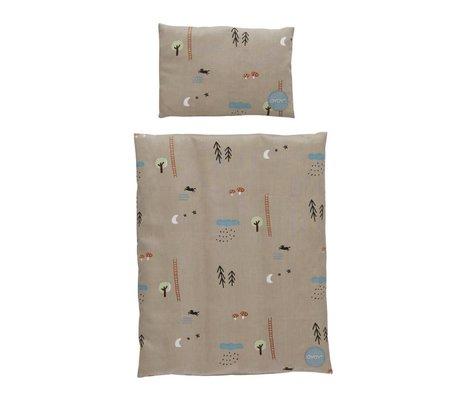 OYOY Lit de poupée literie forêt gris marron coton 34x42 / 16x24cm