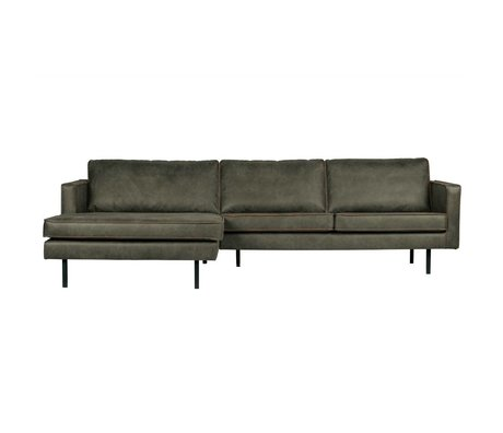 BePureHome Bank Rodeo chaise longue links army groen leer 85x300x86/155cm