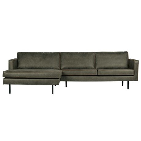 BePureHome Sofa Rodeo Chaiselongue links Armeegrün Leder 85x300x86 / 155cm