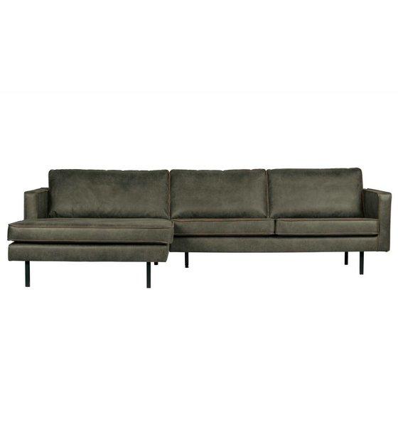 Marvelous Sofa Rodeo Chaise Longue Left Army Green Leather 85X300X86 155Cm Machost Co Dining Chair Design Ideas Machostcouk