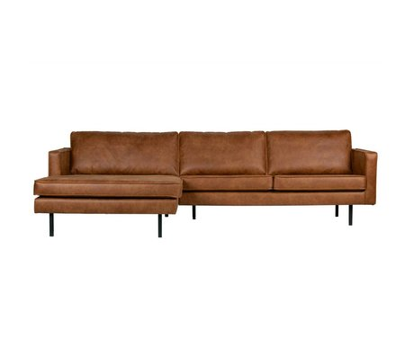 BePureHome Bank Rodeo chaise longue links cognac bruin leer 85x300x86/155cm