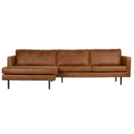 BePureHome Sofa Rodeo Chaiselongue links Cognac braunes Leder 85x300x86 / 155cm