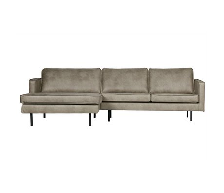 BePureHome Bank Rodeo chaise longue links elephant skin grijs leer 85x300x86/155cm