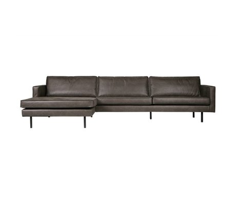 BePureHome Sofa Rodeo chaise longue left black leather 85x300x86 / 155cm