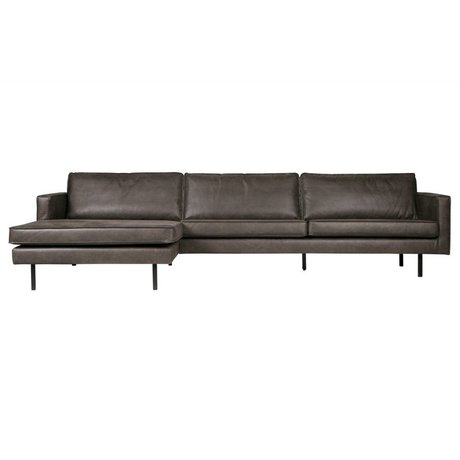 BePureHome Bank Rodeo chaise longue links zwart leer 85x300x86/155cm