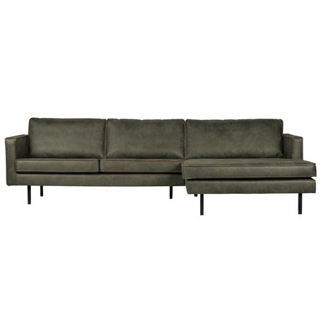 BePureHome Bank Rodeo chaise longue rechts army groen leer 85x300x86/155cm