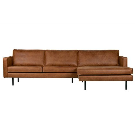 BePureHome Bench Rodeo chaise longue right cognac brown leather 85x300x86 / 155cm