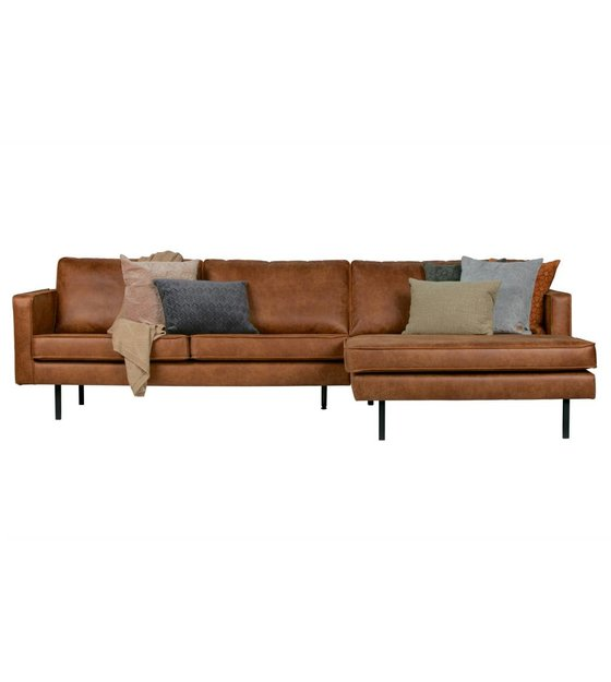 Cognac Bank Met Hocker.Bank Rodeo Chaise Longue Rechts Cognac Bruin Leer 85x300x86 155cm