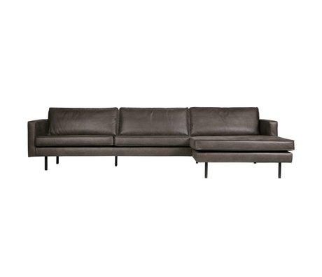 BePureHome Sofa Rodeo chaise longue right black leather 85x300x86 / 155cm
