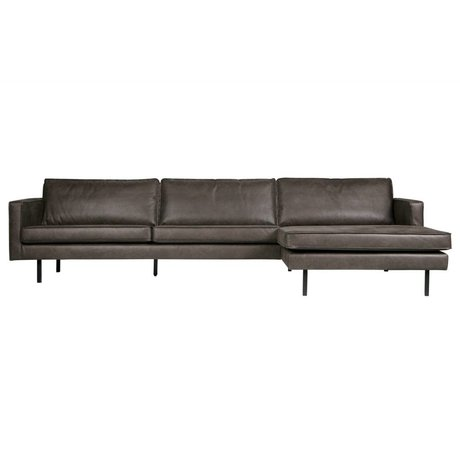 BePureHome Bank Rodeo chaise longue rechts zwart leer 85x300x86/155cm