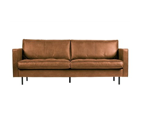 BePureHome Sofa Rodeo classic 2.5 seater cognac brown leather 83x230x88cm