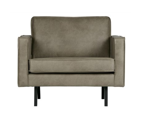 BePureHome Fauteuil Rodeo Elephant peau cuir gris 85x105x86cm