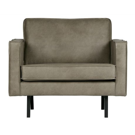 BePureHome Fauteuil Rodeo Elephant skin gray leather 85x105x86cm