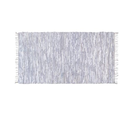HK-living Teppich aus Leder hellgrau 175x90cm