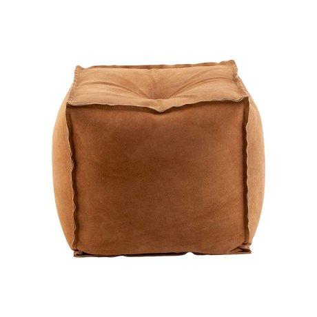 Housedoctor Pouf en daim cognac marron cuir coton 40x40x40cm