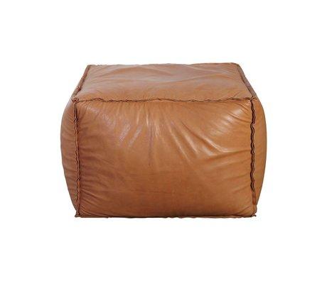 Housedoctor Pouf Soft brique cognac cuir marron 60x60x45cm