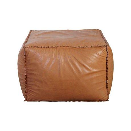 Housedoctor Poef Soft brick cognac bruin leer 60x60x45cm