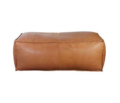 Housedoctor Poef Soft brick cognac bruin leer 120x60x45cm