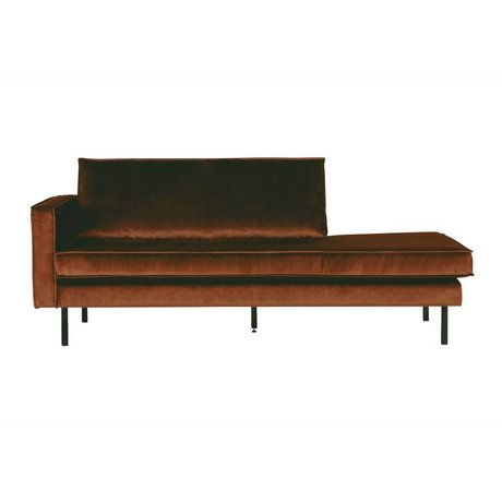 BePureHome Daybed Samt Rost links orange Samt 203x86x85cm
