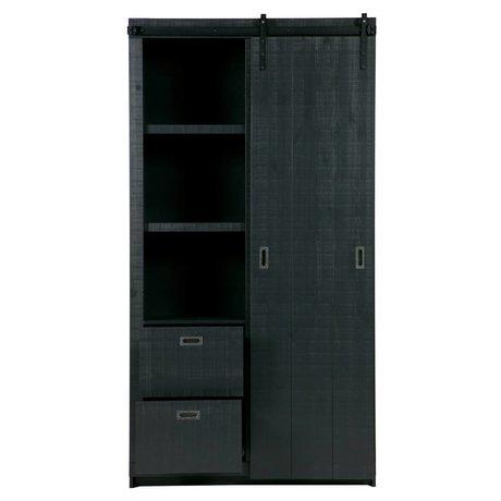 Placard à coulisse Grange bois noir 122x37x230cm