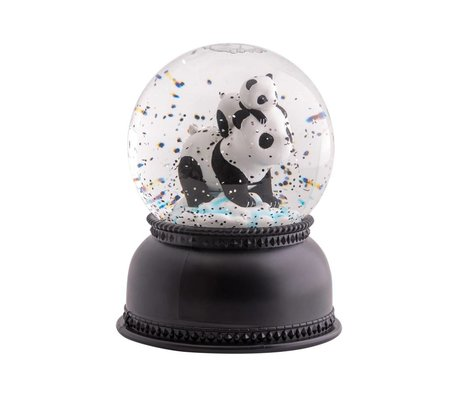 A Little Lovely Company Snowglobe light Panda zwart wit acryl 11x14,5x11cm
