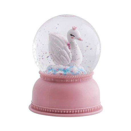 A Little Lovely Company Snowglobe light Swan rose acrylique 11x14,5x11cm