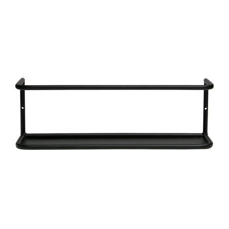 LEF collections Wandplank Myrthe L zwart metaal 13x40x10cm