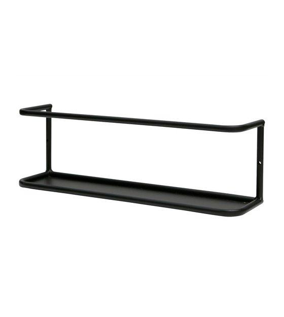 Wandplank Zwart Metaal Hout.Wandplank Myrthe L Zwart Metaal 13x40x10cm