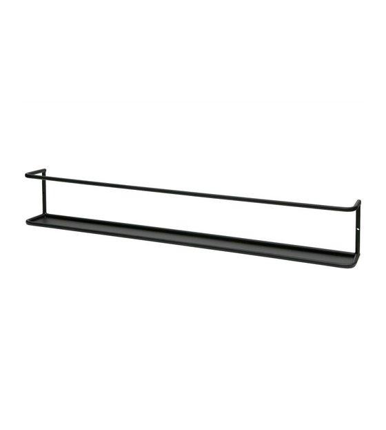 Wandplank Zwart Metaal Hout.Wandplank Myrthe Xl Zwart Metaal 13x80x10cm
