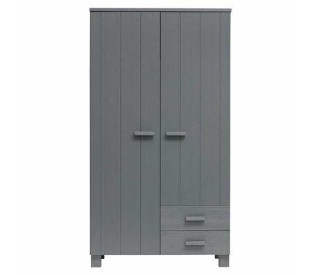 LEF collections Schrank Dennis mit Schubladen aus Stahl grau gebürstet Kiefer 202x111x55cm