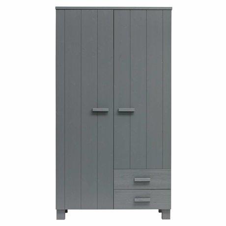 LEF collections Cabinet Dennis avec tiroirs acier gris pin brossé 202x111x55cm