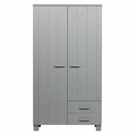 LEF collections Kast Dennis met laden beton grijs geborsteld grenen 111x55x202cm