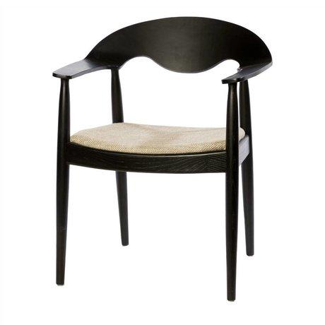 Riverdale Chaise de salle à manger eden noir beige textile 81cm