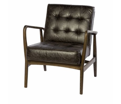 Riverdale Armchair Walton anthracite gray leather wood 80cm