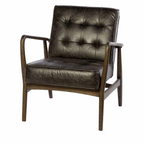 Riverdale Fauteuil Walton anthracite gris cuir bois 80cm