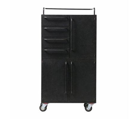 BePureHome Kast black beauty op wielen zwart metaal 144x75x39cm