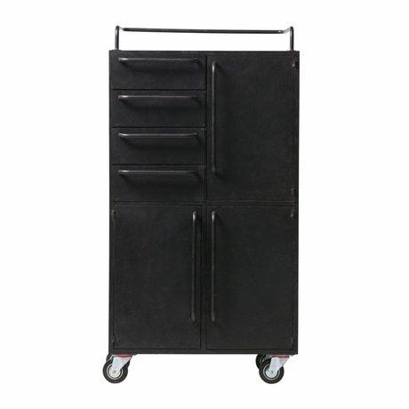 BePureHome Cabinet noir beauté sur roulettes métal noir 144x75x39cm