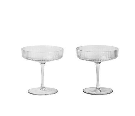 Ferm Living Champagneglas Ripple transparant glas set van twee Ø10,5x11cm schade